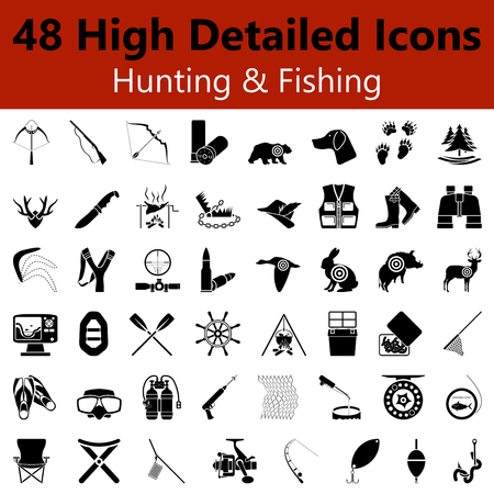 fishing tackle: Set of High Detailed Hunting and Fishing Smooth Icons in Black Colors