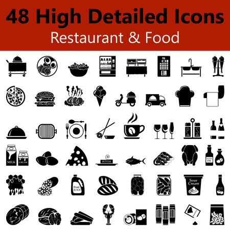 Set of High Detailed Restaurant and Food Smooth Icons in Black Colors