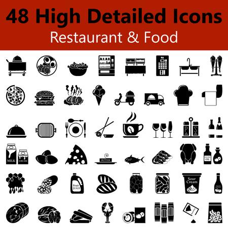 Set van High Gedetailleerde Restaurant and Food Smooth Iconen in zwarte kleuren Stockfoto - 44840290