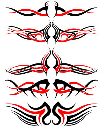 indigenous: Set of Tribal Indigenous Tattoos in Black and Red Colors. Elegant Smooth Design Over White Background. Vector Illustration. Illustration