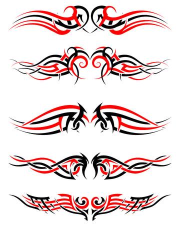 tatouage ange: Set de tatouages ??tribaux autochtones en noir et en couleurs rouges. Élégant design lisse sur fond blanc. Vector Illustration.