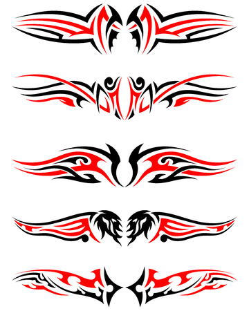 wing figure: Set of Tribal Indigenous Tattoos in Black and Red Colors. Elegant Smooth Design Over White Background. Vector Illustration. Illustration