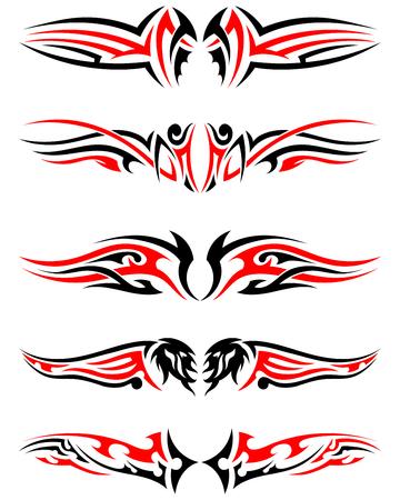 Set van Tribal inheemse Tattoos in zwarte en rode kleuren. Elegant Smooth ontwerp op een witte achtergrond. Vector Illustratie.