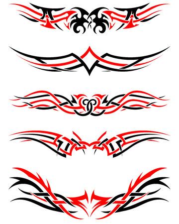 crimp: Set of Tribal Indigenous Tattoos in Black and Red Colors. Elegant Smooth Design Over White Background. Vector Illustration. Illustration