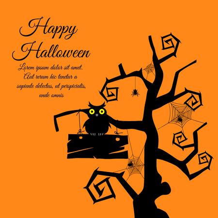 sowa: Happy Halloween karty z pozdrowieniami. Elegancki design z gotyckim drzewo, drewno, Sowa, taśmy i pająki na pomarańczowym tle. Ilustracji wektorowych.