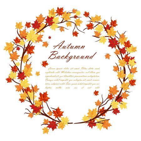 Herbst-Rahmen Mit Ahorn-Baum-Zweige Und Blätter Auf Weißem ...