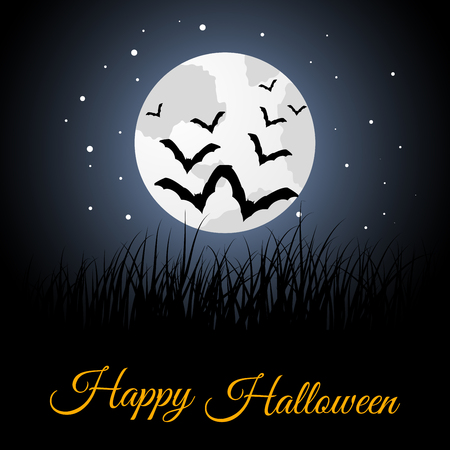 flying bats: Happy Halloween Greeting Card. Elegant Design With Moon on Starry Sky and Silhouettes of Flying Bats.  Vector illustration.