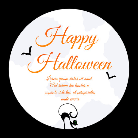 flying bats: Happy Halloween Greeting Card. Elegant Design With Moon on Sky, Silhouettes of Flying Bats  and Cat With Curved Back inside Moon.  Vector illustration.