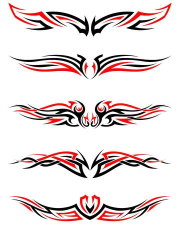 tribales: Conjunto de tatuajes tribales indígenas en colores rojo y Negro. Diseño elegante lisa Sobre Fondo Blanco. Ilustración del vector.