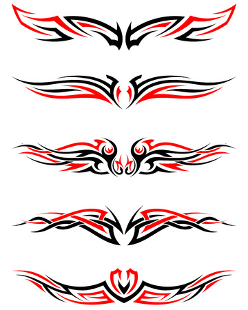 Set of Tribal Indigenous Tattoos in Black and Red Colors. Elegant Smooth Design Over White Background. Vector Illustration. Vettoriali
