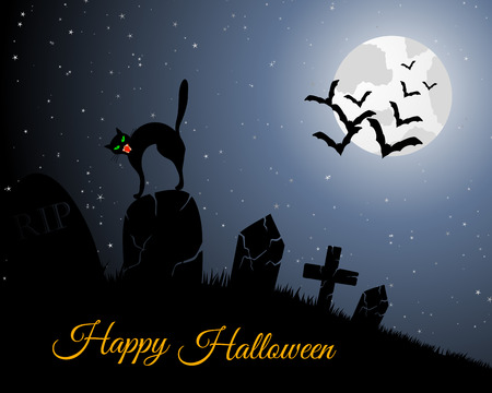 flying bats: Happy Halloween Greeting Card. Elegant Design With Cemetery, Cat on Grave, Moon on Starry Sky and Silhouettes of Flying Bats.  Vector illustration.