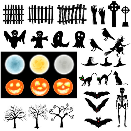 ghost character: Halloween Holiday Elements Set. Collection With Bat, Ghost, Grave, Tree, Moon, Pumpkin, Witch, Skeleton and Cat Over White Background for Creating Halloween Designs.  Vector illustration. Illustration