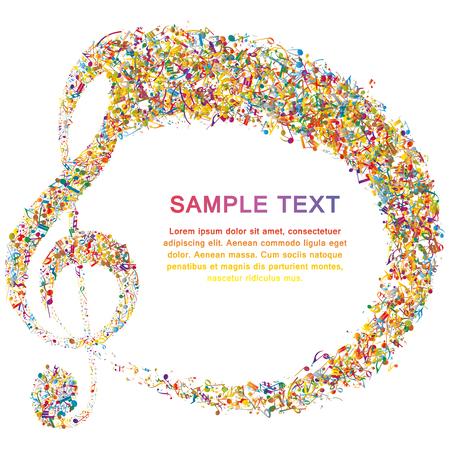 bass clef: Multicolor Diseño Musical De Elementos personal de la música Con Clave de sol y notas con espacio de copia. Diseño elegante creativo aislado en blanco. Ilustración del vector.