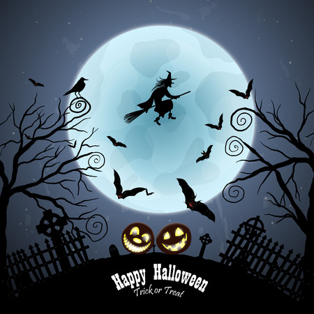 Happy Halloween Greeting Card. Elegant Design With Bats, Owl, Grave, Cemetery, Fence, Moon, Tree and Witch Over Grunge Dark Blue Starry Sky Background. Vector illustration.