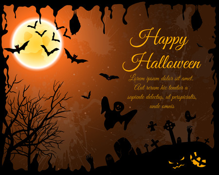 grunge tree: Happy Halloween Greeting Card. Elegant Design With Bats, Spooky, Grave, Cemetery, Tree and Moon  Over Orange Grunge Starry Sky Background With Ink Blots. Vector illustration.