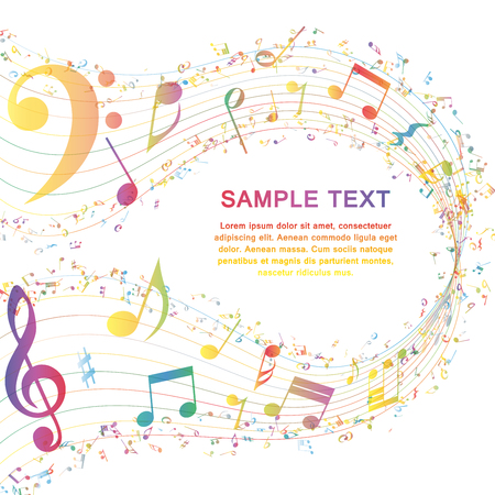 Multicolor Diseño Musical De Elementos personal de la música Con Clave de sol y notas con espacio de copia. Diseño elegante creativo aislado en blanco. Ilustración del vector.
