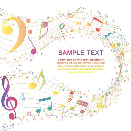 nota musical: Multicolor Diseño Musical De Elementos personal de la música Con Clave de sol y notas con espacio de copia. Diseño elegante creativo aislado en blanco. Ilustración del vector.