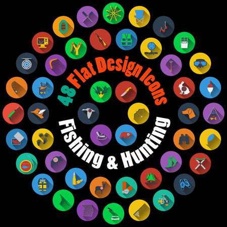 Set of High Detailed Hunting and Fishing Smooth Icons in Flat Design Style. Suitable For All Kind of Design (Web Page, Interface, Advertising, Polygraph and Other). Vector Illustration. Illustration