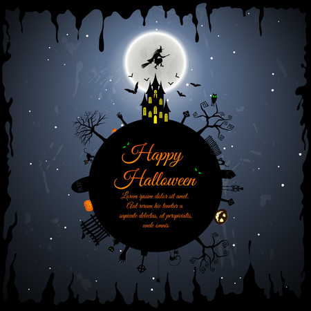 Happy Halloween Greeting Card. Elegant Design With Castle, Bats, Owl, Grave, Tree, Witch, Cemetery and Moon Over Grunge Dark Blue Starry Sky Background. Vector illustration.