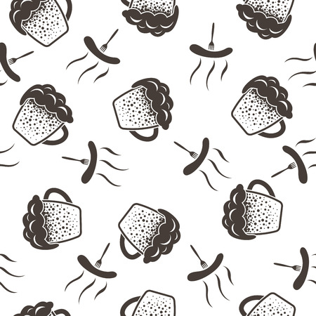 fest: Seamless Oktoberfest Pattern With Ornate From Mugs of Beer and Forks with Sausages.  Suitable for Fest Attributes, Pub Equipment  And Other Use. Vector Illustration.