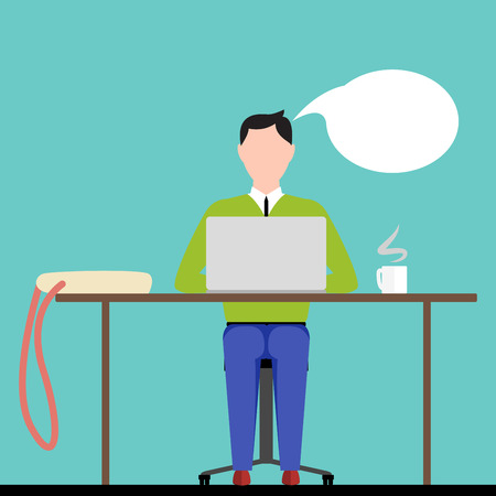 man using computer: Man Sitting on a Chair at Table Behind Opened Laptop With Bag and Smoking Cup of Coffee. Elegant  UI Flat Design Style. Vector Illustration.