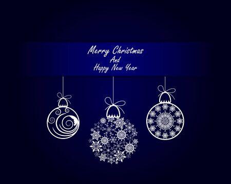 fond de texte: Carte élégante de voeux de Noël avec des rubans, boules et Snowflakes sur elle. Fond bleu avec Espace texte. Convient également pour Ney Année Design Mignon. Vector Illustration. Illustration