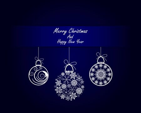 for text: Elegant Christmas Greeting Card With Ribbons, Balls and Snowflakes on it. Blue Background with Text Space.  Also Suitable for Ney Year Cute Design. Vector Illustration.