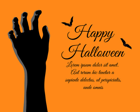 Happy Halloween Greeting (Invitation) Card. Elegant Design With Rising Zombie Hand and Bats Over Orange Background. Vector illustration.