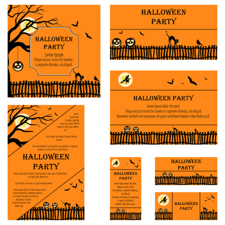 cartoon halloween: Set of Invitation Cards in Different  Size and Formats. Elegant Halloween Design With Tree, Moon, Witch, Fence, Bat, Cat And Raven Over Orange Background With Copy Space. Vector Illustration. Illustration