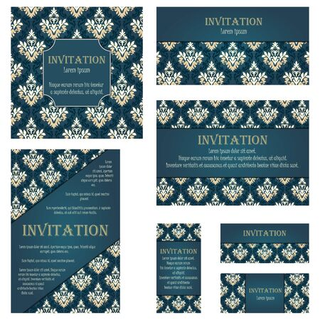 rococo style: Set of Invitation Cards in Different  Size and Formats. Elegant Royal Damask Rococo Style With Text Space. Vector Illustration.