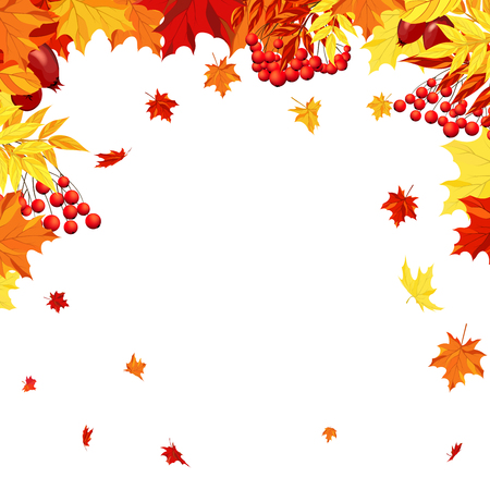 dog rose: Autumn  Frame With Maple, Rowan and Dog Rose Leaves and Berries Over White Background. Elegant Design with Text Space and Ideal Balanced Colors. Vector Illustration.