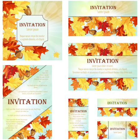 autumn sky: Set of Invitation Cards in Different  Size and Formats. Elegant Autumn Design With Maple and Oak Leaves and Acorns Over Sky Background With Beams of Sun. Vector Illustration.