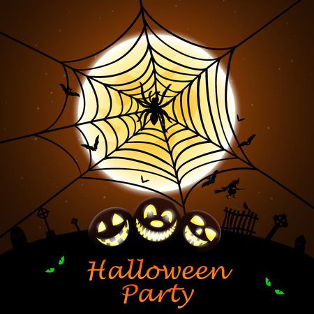 happy web: Happy Halloween Greeting (Invitation)  Card. Elegant Design With Smiling Pumpkin in Front of Moon and Spider With Web Over Grunge Orange Background. Vector illustration. Illustration