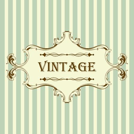 rococo style: Vintage Frame With Retro Ornament Elements in Antique Rococo Style. Elegant  Decorative Design. Vector Illustration.