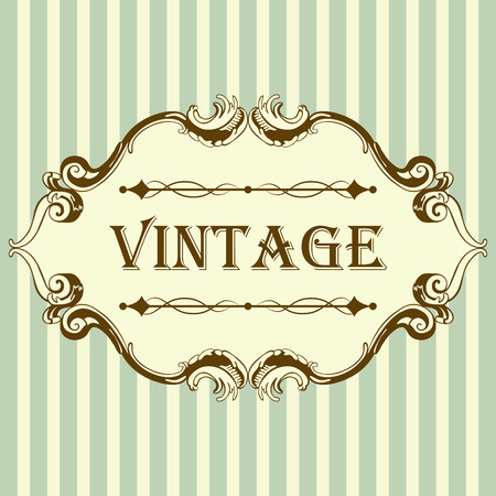 texts: Vintage Frame With Retro Ornament Elements in Antique Rococo Style. Elegant  Decorative Design. Vector Illustration.