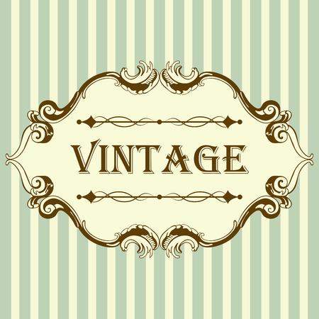 ročník: Vintage rám s Retro ozdobná prvky v antickém stylu rokoka. Elegantní Dekorativní zdobení. Vektorové Ilustrace.