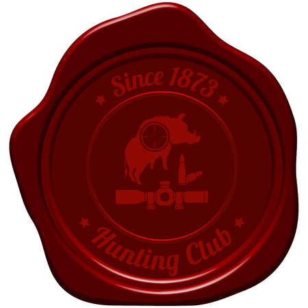 vintage rifle: Hunting Vintage Emblem. Wild Boar Silhouette With Scope on It and Rifle Ammo.  Suitable for Advertising, Hunt Equipment, Club And Other Use. Dark Red Retro Seal Style. Vector Illustration.