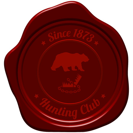 Hunting Vintage Emblem. Wild Bear Silhouette With Opened Trap.  Suitable for Advertising, Hunt Equipment, Club And Other Use. Dark Red Retro Seal Style. Vector Illustration. Illustration
