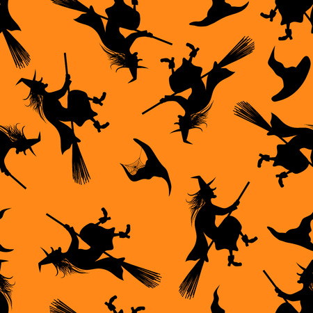sketch sketches: Halloween Holiday Seamless Pattern With Witch And Hats Over Orange Background for Creating Halloween Designs.  Vector illustration. Illustration