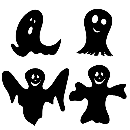Halloween Holiday Elements Set. Collection With Different Ghosts Over White Background for Creating Halloween Designs.  Vector illustration.