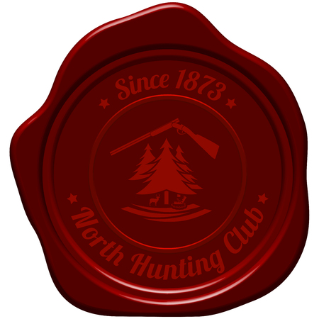 seal gun: Hunting Vintage Emblem. Opened Hunting  Gun, Fir Tree, Deer Silhouette and Trap. Suitable for Advertising, Hunt Equipment, Club And Other Use.  Dark Red Retro Seal Style.  Vector Illustration.