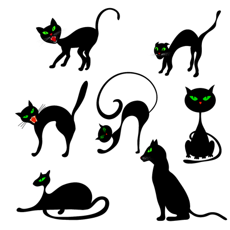 black and white image drawing: Halloween Holiday Elements Set. Collection With Black Cats in Different Poses Over White Background for Creating Halloween Designs.  Vector illustration. Illustration