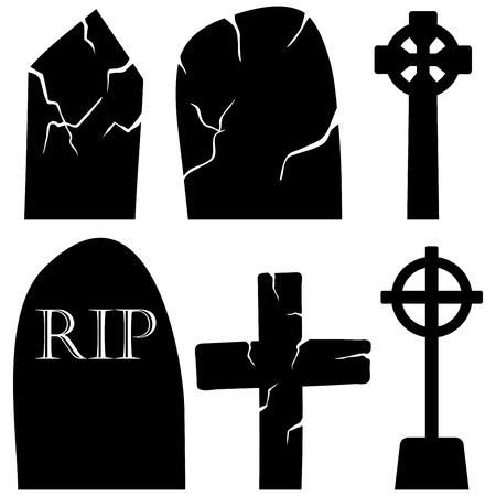cripta: Halloween Holiday Elements Set. Collezione con il cimitero Grave Stones su sfondo bianco per la creazione di disegni di Halloween. Illustrazione vettoriale.