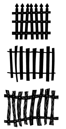 fences: Halloween Holiday Elements Set. Collection With Different Shapes of Fence Over White Background for Creating Halloween Designs.  Vector illustration. Illustration