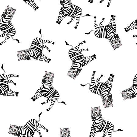 zebra: Modelo inconsútil De divertido personaje de dibujos animados de cebra con amplia sonrisa sobre fondo blanco. Tropical y Zoo Fauna. Ilustración del vector.