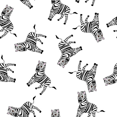 zebra skin: Seamless Pattern From Funny Cartoon Character Zebra With Wide Smile Over White Background.  Tropical and Zoo  Fauna. Vector illustration.
