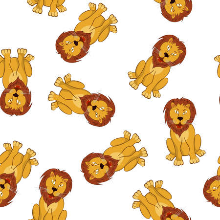opened mouth: Seamless Pattern From Funny Cartoon Character Lion With Growl Opened Mouth Sitting on a Floor Over White Background. Hand Drawn in Front View Elegant Cute Design. Vector illustration.