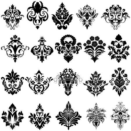 baroque pattern: Set of Emblem in Damask Style Over White Background. Vector illustration.