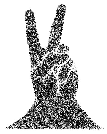 victory sign: Musical Design From Musical Notes Elements And Hand in Victory Gesture. Elegant Creative Design Isolated on White. Vector Illustration.