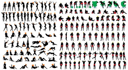 naked male: Naked sexy girls and men silhouette set. Very smooth and detailed with color hairstyle.  Vector illustration. Illustration